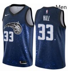 Mens Nike Orlando Magic 33 Grant Hill Swingman Blue NBA Jersey City Edition
