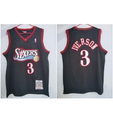 76ers 3 Allen Iverson Black 1997 98 Hardwood Classics Jersey