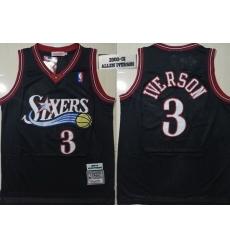 76ers 3 Allen Iverson Black 2000 01 Hardwood Classics Jersey