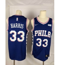 76ers 33 Tobias Harris Blue Nike Throwback Swingman Jersey