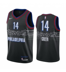 Men Nike Philadelphia 76ers 14 Danny Green Black NBA Swingman 2020 21 City Edition Jersey