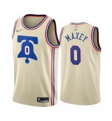 Men Philadelphia 76ers 0 Tyrese Maxey Cream NBA Swingman 2020 21 Earned Edition Jersey