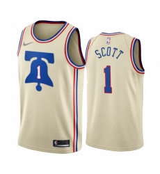 Men Philadelphia 76ers 1 Mike Scott Cream NBA Swingman 2020 21 Earned Edition Jersey
