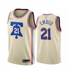 Men Philadelphia 76ers 21 Joel Embiid Cream NBA Swingman 2020 21 Earned Edition Jersey