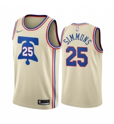 Men Philadelphia 76ers 25 Ben Simmons Cream NBA Swingman 2020 21 Earned Edition Jersey