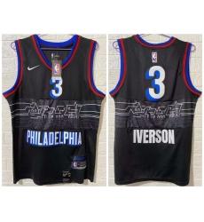 Men Philadelphia 76ers 3 Allen Iverson Black 2020 21 City Edition Nike Swingman Jersey