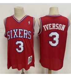 Men Philadelphia 76ers 3 Allen Iverson Red 2002 03 Hardwood Clas