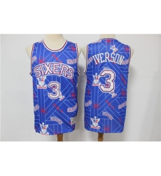 Men Philadelphia 76ers Allen Iverson 3 hwc jersey tear up pack Swingman Jersey
