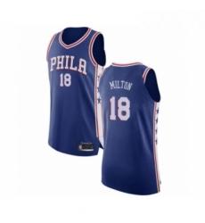 Mens Philadelphia 76ers 18 Shake Milton Authentic Blue Basketball Jersey Icon Edition
