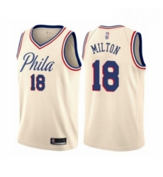 Mens Philadelphia 76ers 18 Shake Milton Authentic Cream Basketball Jersey City Edition