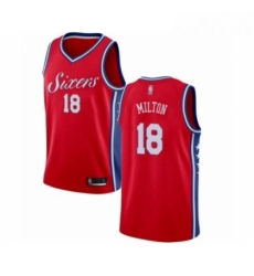 Mens Philadelphia 76ers 18 Shake Milton Authentic Red Basketball Jersey Statement Edition