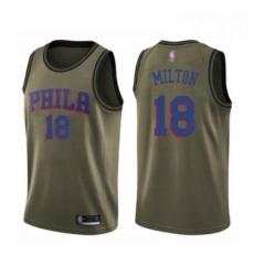 Mens Philadelphia 76ers 18 Shake Milton Swingman Green Salute to Service Basketball Jersey