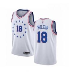 Mens Philadelphia 76ers 18 Shake Milton White Swingman Jersey Earned Edition