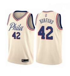 Mens Philadelphia 76ers 42 Al Horford Authentic Cream Basketball Jersey City Edition