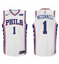 Nike NBA Philadelphia 76ers 1 T J McConnell Jersey 2017 18 New Season White Jers