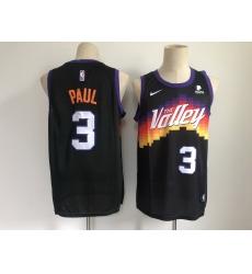 Men Phoenix Suns 3 Chris Paul Black 2021 City Edition NBA Swingman Jersey With The Sponsor Logo