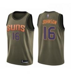 Mens Phoenix Suns 16 Tyler Johnson Swingman Green Salute to Service Basketball Jersey