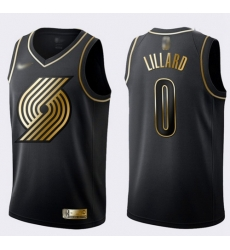 Blazers #0 Damian Lillard Black Gold Basketball Swingman Limited Edition Jersey