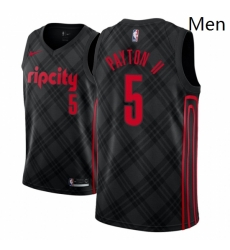 Men NBA 2018 19 Portland Trail Blazers 5 Gary Payton II City Edition Black Jersey