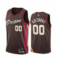 Men Nike Portland Blazers 00 Carmelo Anthony Chocolate NBA Swingman 2020 21 City Edition Jersey