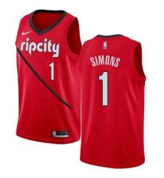 Men Nike Portland Blazers 1 Anfernee Simons Red NBA Swingman Earned Edition Jersey
