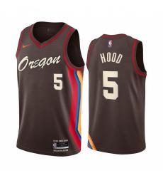 Men Nike Portland Blazers 5 Rodney Hood Chocolate NBA Swingman 2020 21 City Edition Jersey