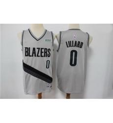 Men Portland Blazers Damian Lillard 0 NBA New grey playoff bonus jersey