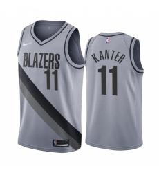 Men Portland Trail Portland Blazers 11 Enes Kanter Gray NBA Swingman 2020 21 Earned Edition Jersey