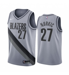 Men Portland Trail Portland Blazers 27 Jusuf Nurkic Gray NBA Swingman 2020 21 Earned Edition Jersey