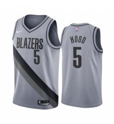 Men Portland Trail Portland Blazers 5 Rodney Hood Gray NBA Swingman 2020 21 Earned Edition Jersey
