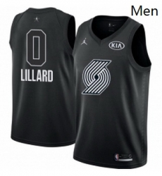 Mens Nike Jordan Portland Trail Blazers 0 Damian Lillard Swingman Black 2018 All Star Game NBA Jersey