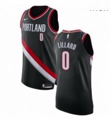 Mens Nike Portland Trail Blazers 0 Damian Lillard Authentic Black Road NBA Jersey Icon Edition