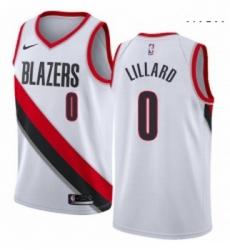 Mens Nike Portland Trail Blazers 0 Damian Lillard Authentic White Home NBA Jersey Association Edition