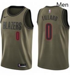 Mens Nike Portland Trail Blazers 0 Damian Lillard Swingman Green Salute to Service NBA Jersey