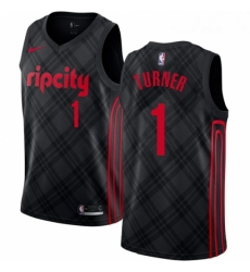 Mens Nike Portland Trail Blazers 1 Evan Turner Authentic Black NBA Jersey City Edition