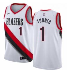 Mens Nike Portland Trail Blazers 1 Evan Turner Authentic White Home NBA Jersey Association Edition