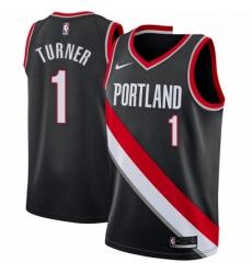 Mens Nike Portland Trail Blazers 1 Evan Turner Swingman Black Road NBA Jersey Icon Edition