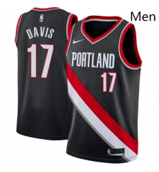 Mens Nike Portland Trail Blazers 17 Ed Davis Swingman Black Road NBA Jersey Icon Edition