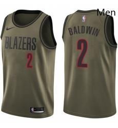 Mens Nike Portland Trail Blazers 2 Wade Baldwin Swingman Green Salute to Service NBA Jersey