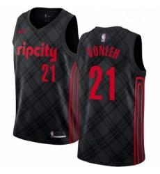 Mens Nike Portland Trail Blazers 21 Noah Vonleh Authentic Black NBA Jersey City Edition