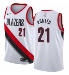 Mens Nike Portland Trail Blazers 21 Noah Vonleh Authentic White Home NBA Jersey Association Edition
