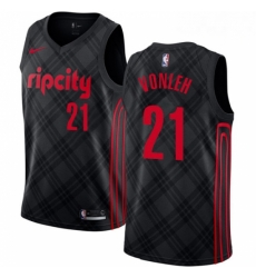 Mens Nike Portland Trail Blazers 21 Noah Vonleh Swingman Black NBA Jersey City Edition