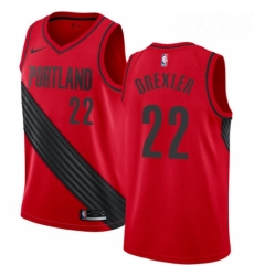 Mens Nike Portland Trail Blazers 22 Clyde Drexler Authentic Red Alternate NBA Jersey Statement Edition