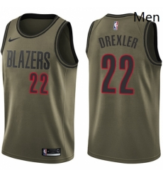 Mens Nike Portland Trail Blazers 22 Clyde Drexler Swingman Green Salute to Service NBA Jersey
