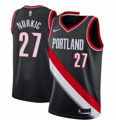 Mens Nike Portland Trail Blazers 27 Jusuf Nurkic Swingman Black Road NBA Jersey Icon Edition