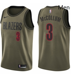 Mens Nike Portland Trail Blazers 3 CJ McCollum Swingman Green Salute to Service NBA Jersey