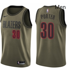 Mens Nike Portland Trail Blazers 30 Terry Porter Swingman Green Salute to Service NBA Jersey