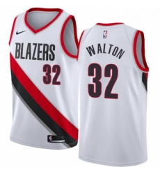 Mens Nike Portland Trail Blazers 32 Bill Walton Authentic White Home NBA Jersey Association Edition