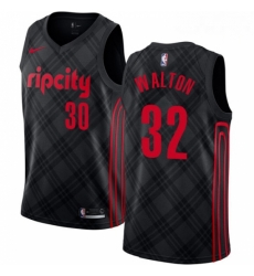Mens Nike Portland Trail Blazers 32 Bill Walton Swingman Black NBA Jersey City Edition