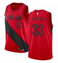 Mens Nike Portland Trail Blazers 33 Zach Collins Authentic Red Alternate NBA Jersey Statement Edition